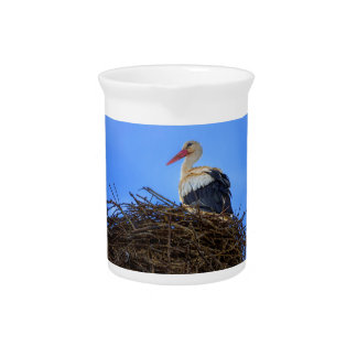 European white stork, ciconia, in the nest beverage pitchers