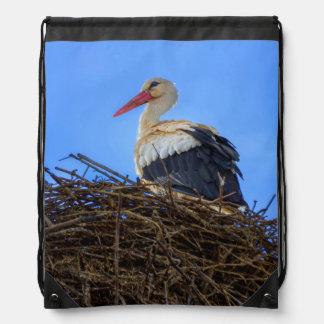 European white stork, ciconia, in the nest drawstring bag
