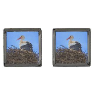 European white stork, ciconia, in the nest gunmetal finish cufflinks