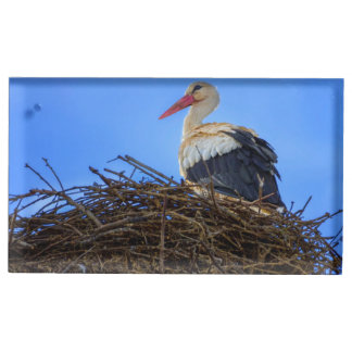 European white stork, ciconia, in the nest table card holder