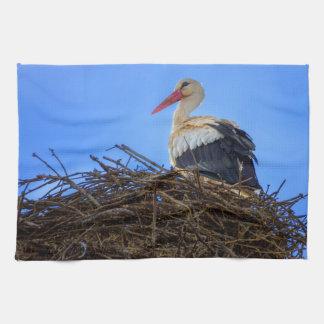 European white stork, ciconia, in the nest tea towel