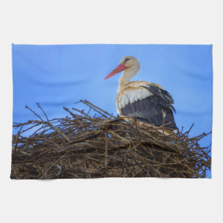 European white stork, ciconia, in the nest towels