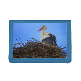 European white stork, ciconia, in the nest trifold wallet