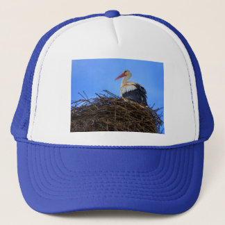 European white stork, ciconia, in the nest trucker hat