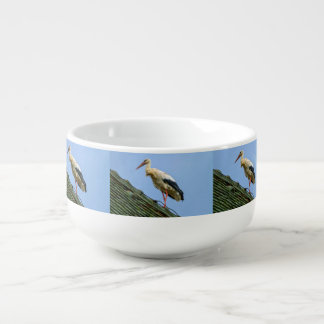 European white stork, ciconia soup bowl with handle