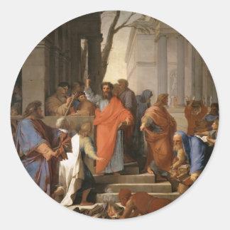 Eustache Le Sueur-Preaching of St. Paul at Ephesus Round Sticker