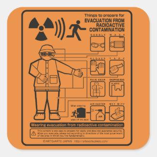EVACUATION FROM RADIOACTIVE CONTAMINATION SQUARE STICKER