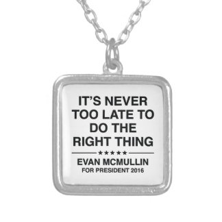 Evan McMullin Quote Silver Plated Necklace