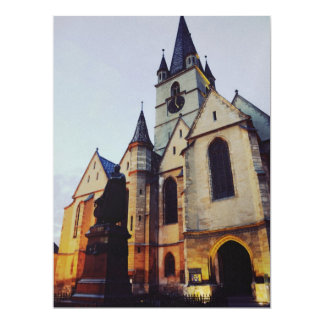Evangelic church at night 17 cm x 22 cm invitation card
