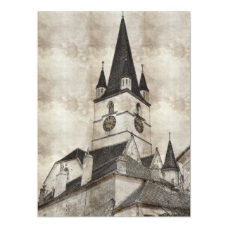 Evangelic church tower drawing 17 cm x 22 cm invitation card