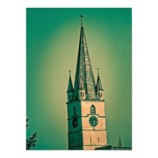 Evangelic church tower 17 cm x 22 cm invitation card