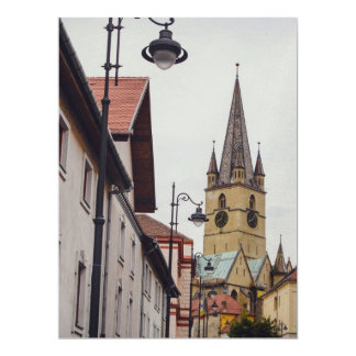 Evangelical church tower, Sibiu 17 Cm X 22 Cm Invitation Card