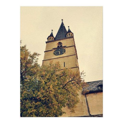 Evangelical church tower, Sibiu Announcement