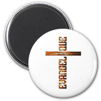 Evangélique en croix aspect braise 6 cm round magnet