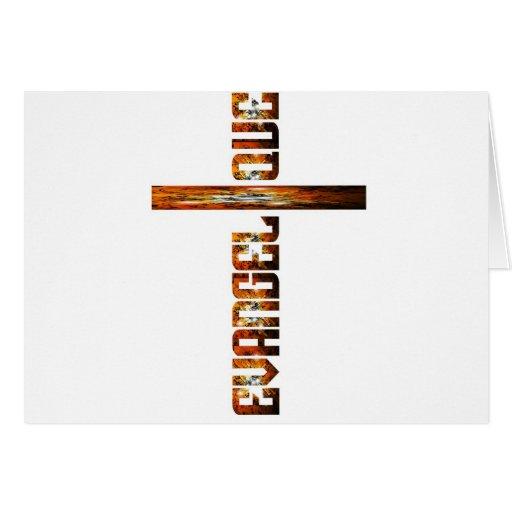 Evangélique en croix aspect braise greeting card