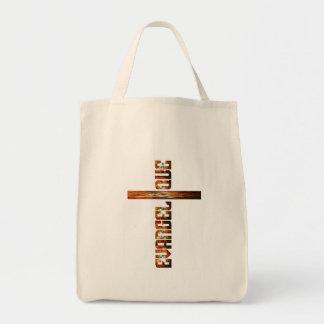 Evangélique en croix aspect braise grocery tote bag