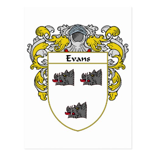 Evans Coat of Arms Ireland (Mantled) Post Cards