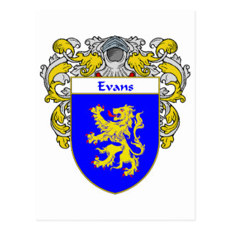 Evans Coat of Arms Wales (Mantled) Postcard