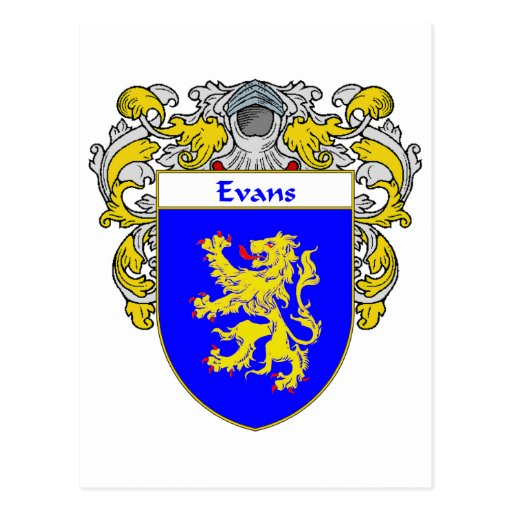 Evans Coat of Arms Wales (Mantled) Post Cards