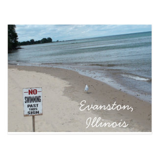 Evanston, Illinois Beach by the Grosse Point Light Postcard