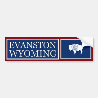 Evanston Wyoming State Flag Bumper Sticker