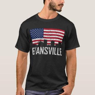 Evansville Indiana Skyline American Flag Distresse T-Shirt