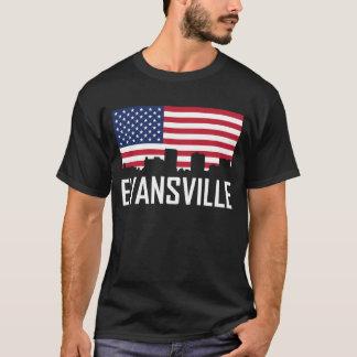 Evansville Indiana Skyline American Flag T-Shirt