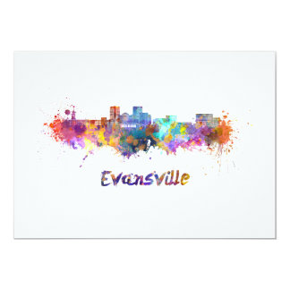 Evansville skyline in watercolor card