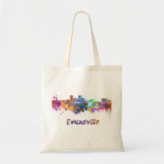 Evansville skyline in watercolor tote bag