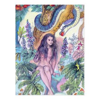 Eve Sitting in Gargen of Eden With snake Postcard