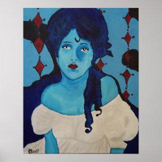 Evelyn Blue Poster