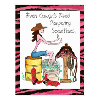 Even Cowgirls Need Pampering! postcards