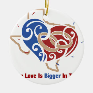 Even Love Is Bigger In Texas Round Ceramic Decoration