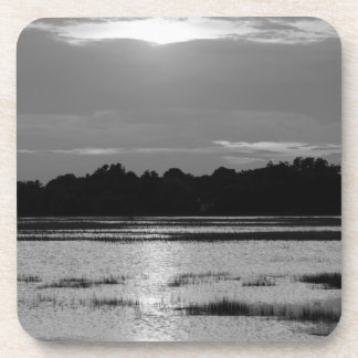 Evening At Folly River Grayscale Coaster