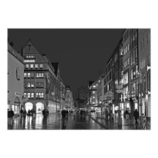 Evening at Kaufingerstrasse in Munich. Photo Print