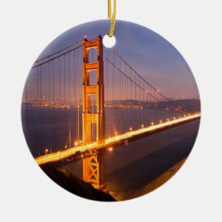 """Evening at the Golden Gate Bridge"" ornaments"