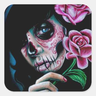 Evening Bloom Day of the Dead Sugar Skull Girl Square Sticker