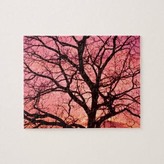 Evening Blush Tree Silhouette Jigsaw Puzzle