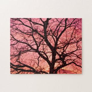 Evening Blush Tree Silhouette Puzzle