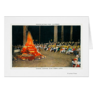 Evening Bonfire at Giant Forest Lodge Card