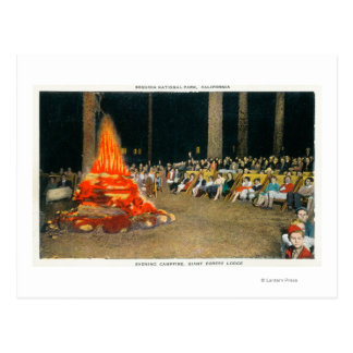 Evening Bonfire at Giant Forest Lodge Postcard