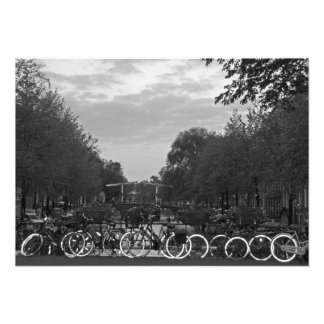 Evening. Bridge. Bicycles. Photo Print