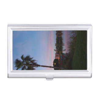 Evening By The Palm Tree Business Card Holder