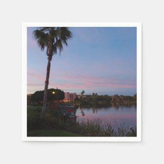 Evening By The Palm Tree Paper Napkin