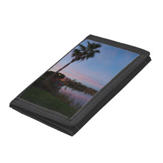 Evening By The Palm Tree Tri-fold Wallet