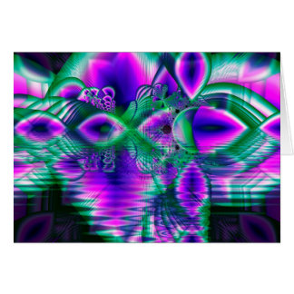 Evening Crystal Primrose, Abstract Night Flowers Card