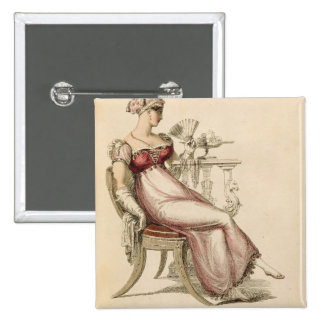 Evening dress or ball gown, fashion plate from Ack 15 Cm Square Badge