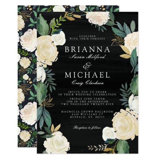 Evening Garden Floral Wedding Invite