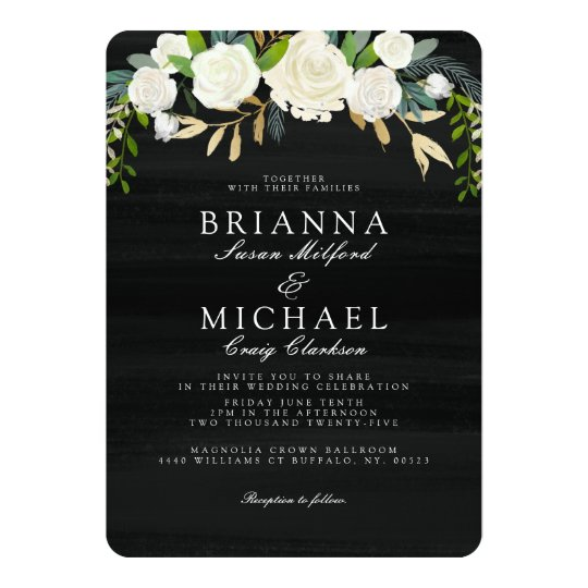Evening Garden Floral Wedding Invite