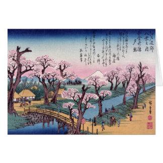 Evening Glow at Koganei Bridge, Ando Hiroshige Greeting Card
